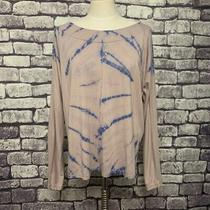 Bloom Tan & Blue Long Sleeve Top Size L Photo
