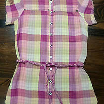 Blouse Shirt Tunic Top--Medium--Pink/yellow Plaid--Cotton Gauze--59 Photo