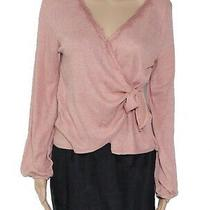 Blu Pepper Women's Blouse Blush Pink Size Medium M Lace Trim Wrap 42 693 Photo