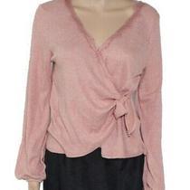 Blu Pepper Women's Top Blush Pink Size Small S Lace Trim Faux Wrap 34- 268 Photo