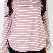 Blu Pepper Womens Top Blush Pink Size Large L Stripe Off Shoulder 44 576 Photo