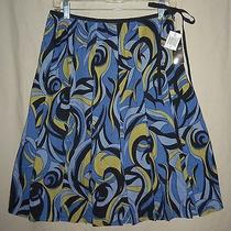 Blue Abstract Op Art Bold Mod Pleated Swing Mini Skirt S 6 Retro Grace Elements Photo