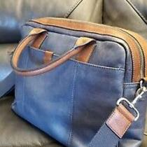 Blue and Brown Fossil Leather Briefcase Messenger Bag Used Unisex Photo