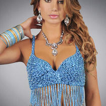 Blue Bead Sequin Silver Coin Bra Top Medium Large Belly Dance Lingerie Turquiose Photo