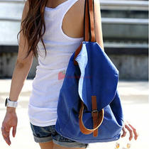 Blue Beige Canvas Women's Fashion Backpack Casual Tote Bag Hobo Large Capacity Photo
