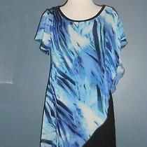 Blue Black Layered Asymmetrical Blouse Top One Size 10/12 Adrianna by Howards Photo
