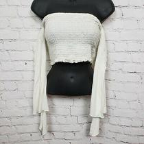 Blue Blush Long Wide Bell Sleeve Smocked Off the Shoulder Crop Top White Size M Photo