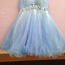 Blue Blush Prom Homecoming/prom Dress With Rhinestones Size 2 Photo
