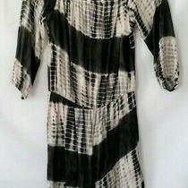 Blue Blush Womens Black and Ivory Tie Dye 3/4 Sleeves Romper Size L Photo