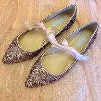 Blue by Betsey Johnson Lia Blush Glitter Flats Size 10 Photo