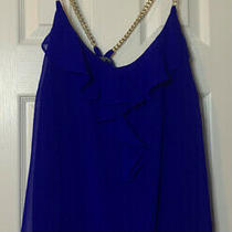 Blue Charlotte Russe Chain Strap Top Size Xl Layered Ruffles New Photo