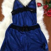 Blue Chemise Shorts Lingerie Set 4 Express Small Black Lace Silky Satin Bed Photo