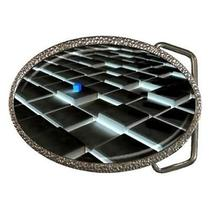 Blue Cube on Black Tile Fantasy Art Belt Buckle Photo