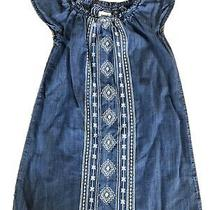 Blue Denim Chambray Old Navy Girls a Line Embroydered  Dress S 6/7 Photo