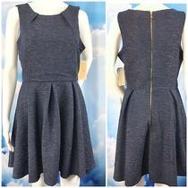 Blue Dress Rose Gold Flecks Fit Flare Exposed Zipper Crinkled Ponte Stretch Photo