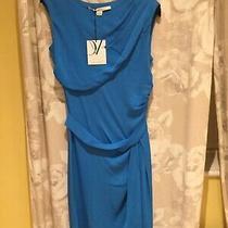 Blue Dvf Silk Dress Size Uk 10 Photo