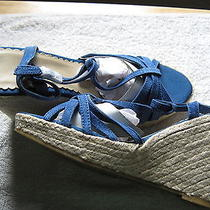 Blue Espadrilles Platform Wedge Shoes4 Inch Highavonus Ladies 8 Mnib Photo