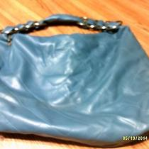 Blue Faux Leather Unbranded Exlarge Quilted Pattern Metal Rings Hobo Handbag Photo