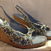 Blue Floral Bandolino Wedges Photo