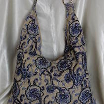 Blue Floral Beaded Linen Shoulder Bag/hobo/tote/sling Photo