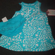 Blue Flower Print Dress With Ruffle Diaper Cover Size 3 Months Photo
