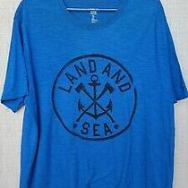 Blue Gap T Shirt Land and Sea Lived-in Rode Large Logo Anchor Axe Ocean  Photo
