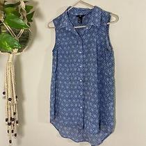 Blue Geometric Print Sleeveless Button Up Tank Blouse h&m Womens Size 4 Photo