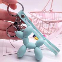 Blue Green Balloon Dog Keychain Cute Rings Jewelry for Women Kid Gift Charm Photo