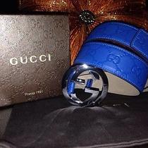 Blue Guccissima Gucci Belt 105cm Fits 36-38 Mens Photo