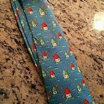 Blue Hermes Tie With Windmills Seats Great and Will Need Cleaning. Make Offer  Photo