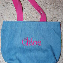 Blue Heron Denim Bag With Name Chloe Embroidered - Kid's Bag Pink Handles Photo