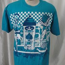 Blue Hurley T-Shirt Large Spay Can Skull Mike Cassette Tape Money Roll Headphone Photo