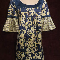 Blue Ivory Satin Floral Gypsy Hippie Grunge Mini Baby Doll Dress Max and Cleo 6 Photo