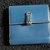 Blue Leather Coach Wallet Green Lining Bill and Card Section and Change Compart Photo