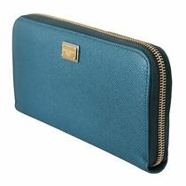 Blue Leather Zipper Continental Logo Clutch Wallet Photo