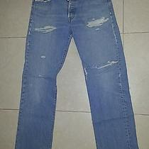 Blue Levi's Grunge 501 Button Fly Jeans Tag 33x34 Measures 34x34 Photo