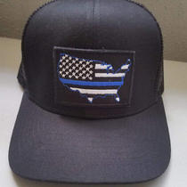 Blue Lives Matter American Flag Trucker Hat Adjustable Usa Velcro Patch Freeship Photo