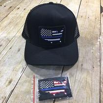 Blue Lives Matter Trucker Cap Black Hat Nwt Two Velcro Patches Photo