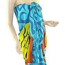 Blue Marine Life Print Sarong Pareo Skirt Dress Wrap Photo