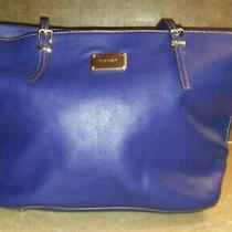 Blue Nine West Handbag Tote Purse Faux Leather With Adjustable Straps Pre-Owned Photo
