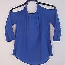Blue Open-Shoulder Express Blouse - Size Xs Photo