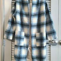Blue Plaid Wool Coat Jacket L W/ Anthropologie Earrings Photo
