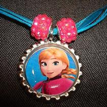 Blue Ribbon Bottle Cap Bling Charm Necklace Pink Beads Frozen Ice Sister Anna Photo