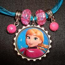 Blue Ribbon & Cord Bottle Cap Bling Charm Necklace Beads Frozen Ice Sister Anna Photo