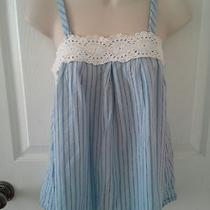 Blue Sailor Stripe Baby Doll Crochet Lace Detail Eyelet Cami Top Size Small S Photo