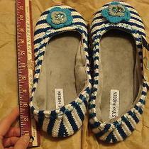 Blue Stripe Large Steve Madden Flower Slippers Photo