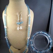 Blue Swarovski Crystal Necklace Bracelet Earrings Photo