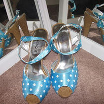 Blue Turquoise Aqua Polka Dot Cork Peeptoe Strappy Sandals Heels 9.5 Photo