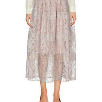 Blugirl Blumarine Beige Skirt Midi Lace Elastic Waist Lined 3/4 Length Blush Xl Photo