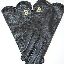 Blumarine Italy Leather Gloves Wool Lining Black Shiny Swarovski Size 6.5 Photo